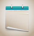 Vintage paper diary with bended corner on vector image