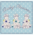Baby shower triplets three boys vector image