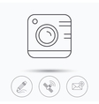 Photo camera mail and gps satellite icons vector image