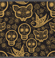 gold seamless pattern day of the dea vector image