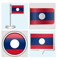 Laos flag - sticker button label flagstaff vector image vector image