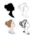 Woman head profiles vector image vector image