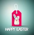 Happy Easter Retro Card with Bunny on Pink Label vector image vector image