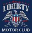 Liberty eagle motor club t-shirt graphic vector image