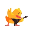 Duckling Playing Electro Guitar Cute Character vector image