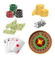 poker chips golden coins with dollar money aces vector image