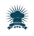 chef cap menu logo vector image