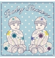 Baby shower with baby boy twins vector image
