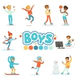 Happy Boys And Their Expected Normal Behavior With vector image