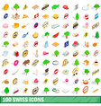 100 swiss icons set isometric 3d style vector image