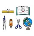 Happy cartoon school supplies vector image vector image