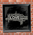 love frame on wall brick vector image
