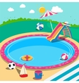 Outdoor Swimming Pool with Toys Summer Time vector image