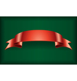 Red ribbon satin banner green vector image