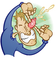 Boy Popping a Pimple Cartoon Character vector image