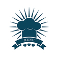 chef cap menu logo vector image
