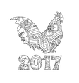 Stylish cock or rooster isolated on white vector image