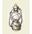 Hand-drawn vintage kerosene lamp Sketch oil vector image