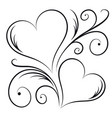 two hearts with swirl elements vector image