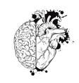 hand drawn line art human brain and heart halfs vector image