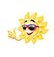 smiling sun in sunglasses show vector image