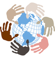 Globe surrounded by hands vector image vector image