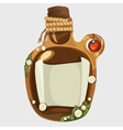 Brown old bottle with a note isolated vector image