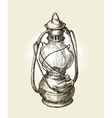 Hand-drawn vintage kerosene lamp Sketch oil vector image