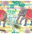 seamless pattern with indian elephant flowers vector image