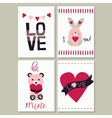 Set of love card vector image