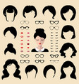 female face creator set of dress up vector image