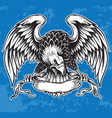 Detailed Hand Drawn Eagle Holding Scroll Vect vector image