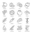 digital black green vegetable icons set vector image
