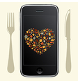 Phone With Food Icons vector image