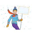Banner for advertising with winter girl vector image