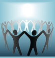 circle of people hold hands vector image vector image
