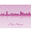 New Haven skyline in purple radiant orchid vector image