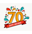 Colorful happy birthday number 70 flat line design vector image