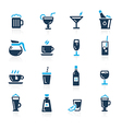Drinks Icons Azure vector image
