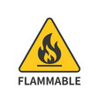flammable sign icon in yellow triangle vector image