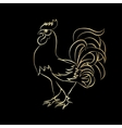Golden outline of an cock vector image