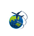 plane and globe travel or express post icon vector image
