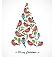 Christmas tree with birds and holly leafs vector image