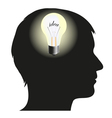 Silhouette of man with idea vector image