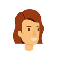 colorful silhouette of woman face with short brown vector image