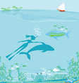 The girl-diver floats together with a dolphin vector image