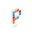 3d cube letter P logo icon design template vector image