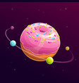 donut planet fantasy space vector image