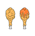 fried chicken leg vector image