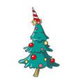 hand drawn smiling cartoon christmas tree vector image